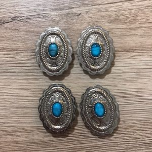 Accessories - Turquoise/Silver Shirt Button Covers Vintage